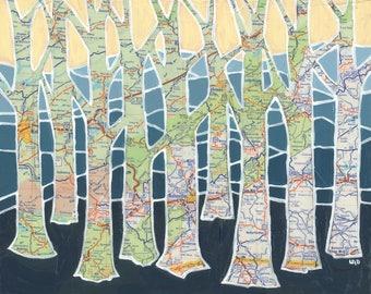 Blue Ridge - large print - 20x24 + 24x30  tree print of North Carolina, Asheville, Boone, Smoky Mountains, Pisgah map art, hiking, camping