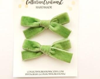 Green Velvet Bows - Green Velvet Baby Bows - St Patricks Day Velvet Bows - Green St Patricks Day Bow Clip or Headband -Green Velvet Baby Bow