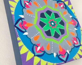 Freedom Mandala. Prayers for Venezuela. Acrylic on wood. 8 x 8 x 1.5 inches