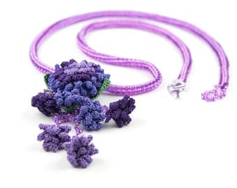 RESERVED FOR J-Flower Pendant Part, Handmade Crochet Beaded Unique Statement Bohemian Long Tassel, Crochet Leaf & Purple Rose Jewelry