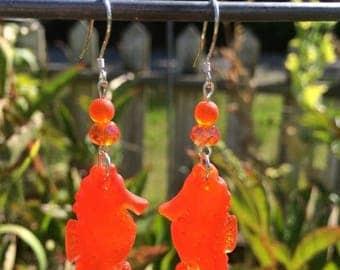 Mid Week Sale ---- Sea Glass Seahorse Earrings, Orange Sea Glass Earrings