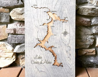Copper & Grey Lake Custom Coeur D'Alene 3-D Lake Sign - CDA Idaho Handmade Compass and Lake Name Engraved - North Idaho Made