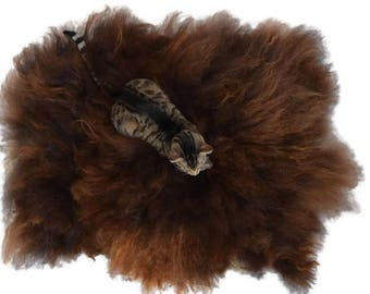 Cruelty Free, Navajo Churro, Cat Bed, Pet Bed, Dog Mat, Leather Free, Felted Wool Fleece, Humane Sheepskin, No Kill Sheep Rug, Throw Rug