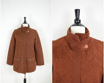 Summer Sale Vintage retro brown quilted jacket / soft felt knit sweater lined coat / suede-like coat