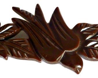 Vintage Bakelite Bird Brooch Chocolate Brown Pin 1940's
