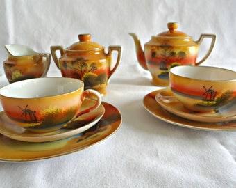 11 Piece Child's Tea Set Vintage Windmills Children's Tea Set Vintage  Piece