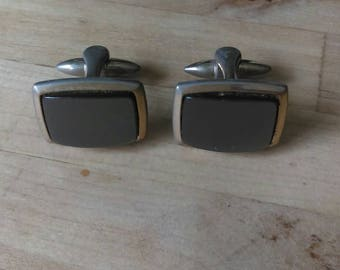 Vintage retro 1970s goldtone & grey stone cufflinks