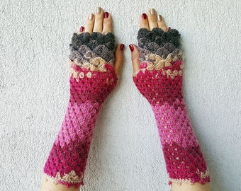 Fingerless mittens - ruby red pink brown taupe cute arm warmers Dragons gloves Mermaid gloves Mareshop Fingerless Gloves
