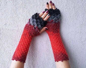 Fingerless Gloves Handmade Wrist Warmers Arm Warmers Mitts Lacy long mittens womens fingerless Dragons gloves Red Grey Black
