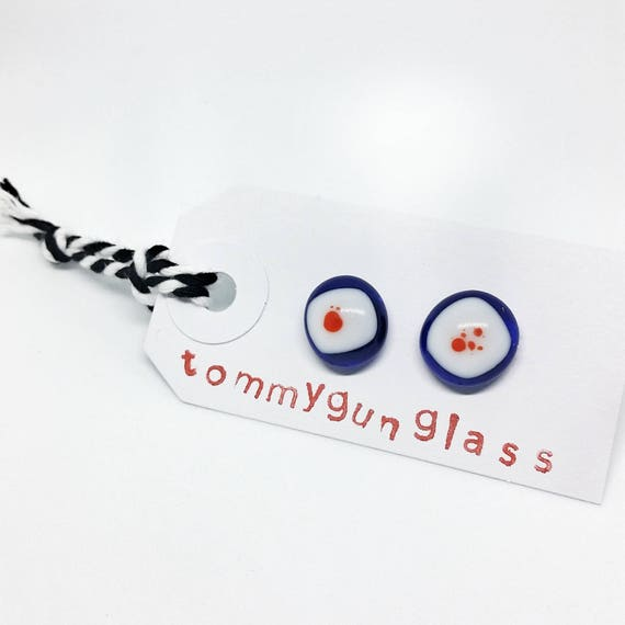 Red, White and Blue Glass Stud Earrings