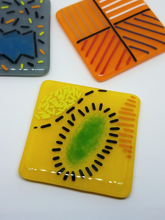 Funky Yellow Glass Trivet or Spoonrest