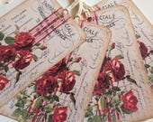Gift Tags French Counry Red Roses Tags French Style Tags French Script Tags Farmhouse StyleTags Cottage Chic Tags Fixer Upper