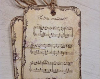 French Vintage Music Sheet Polka Nationale Hang Tag, French Style Tags, French Country Tags, Music Lover Tags, Gift Tag Embellishment