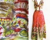 Vintage 60s Cotton Bell Bottoms with Matching Tie Front Halter Top, Paris Moulon Rouge Novelty Print Set