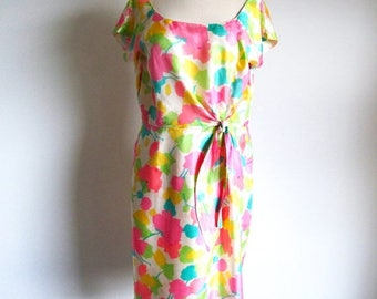 1/2 Off SALE Vintage 60s Flower Print Dress, Metal Zipper Silk Dress