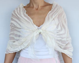 Ivory Bridal Shawl, Organza Wrap Stole, Evening Bolero Shrug, Shoulder Cover Shabby Chic Wedding Top Romantic Modern Wedding Special