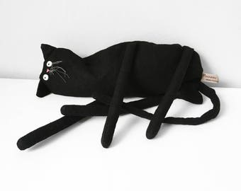 Black Cat Art Doll, Saggy Cloth Cat, Black Cat Soft Sculpture, Handmade Toy Cat, Black Kitty Door Stop, Purrfect Gift for Cat Lover, Poosac