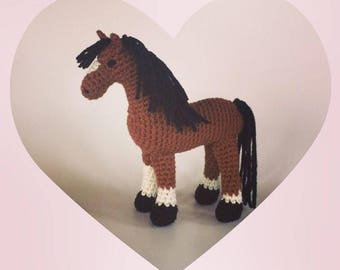 Crocheted horse - Bay Horse - Made To Order - horse amigurumi