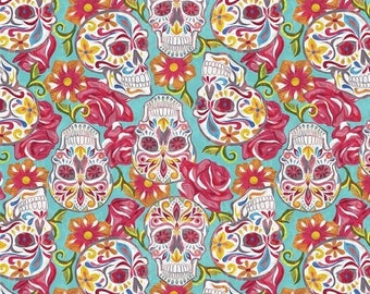 ON SALE 30% OFF Sugar Skull Fabric - Turquoise Fabric - Punk Rock Fabric - Floral Fabric - David Textiles - Day of the Dead - Cotton Fabric