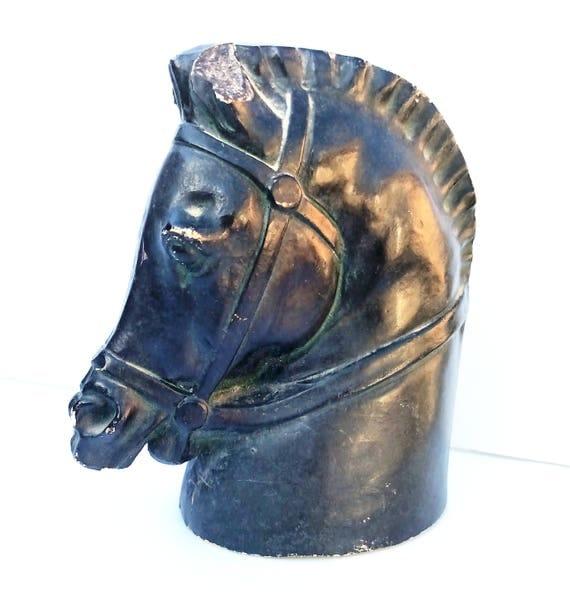 Vintage 1960's Horse Head Figurine in Dark Green