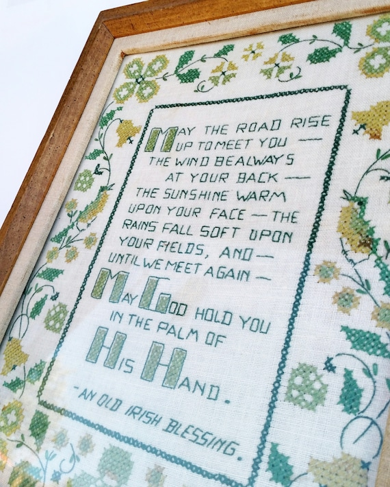 Vintage 1960's Irish Blessing Framed Cross Stitch