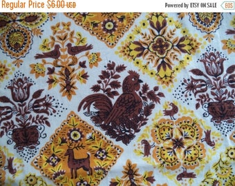 ON SALE Country rooster fabric/ vintage brown orange yellow fabric/ rooster flowers folk art print fabric/ cotton fabric/ sold by the yard/
