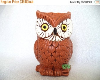 ON SALE Glass owl vase/ vintage brown owl vase/ ceramic owl/ Relpo owl planter