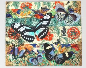 Grunge BUTTERFLY Throw Blanket, Fleece Blanket, bedspread, vivid colors, shabby chic, Colorful Print, Retro, Vintage, Modern Bedding,