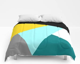 NORDIC Color Block Duvet Cover or Comforter Bedspread Twin Full Black Yellow Aqua Teal Blue White Anthracite Grey Abstract Geometric Pattern