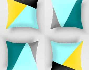NORDIC Color Block Throw Pillow, Indoor Outdoor Cushion cover case, Black Yellow Aqua Teal Blue White Anthracite Grey Abstract Geometric