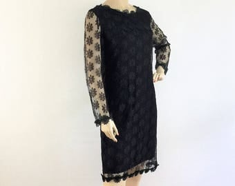 60s black lace baby doll cocktail dress - 1960s Twiggy daisy party dress - Medium
