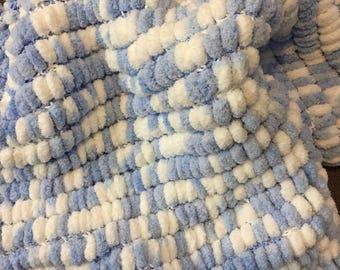 Pom Pom Blanket, Newborn PhotographySoft and Cuddly, Blue and White Pom-Pom Baby Blanket, Photo Prop
