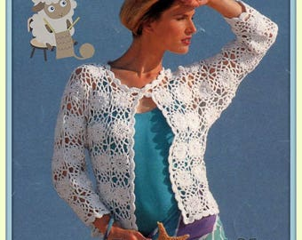 PDF Crochet Pattern for Pretty Crochet Motif Summer Jacket/Top/Cardigan/Beach Top/Holiday Cover
