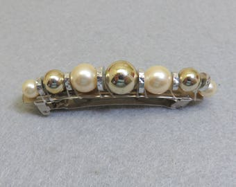 Pearl Vintage Hair Barrette, Gold and Silver Beads, 1980s Hair Barrette