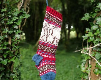 Bunnies Christmas Stocking, Knit Holiday Stocking, Fairisle Christmas Stocking, Fair Isle Knit, Home Decoration (Ready to Ship) LRR