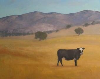 Huge 48x48 Santa Ynez Cow Original Oil Painting Mountain Landscape Modern Impressionist Painting Jennifer Boswell