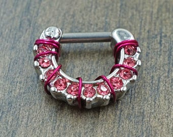 Bright Pink Daith Hoop Rook Earring Clicker Septum Clicker Ring