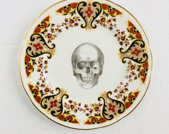 Skull Cake Tea Plate Black Brown Flowers Pattern White Vintage China Made in England Wedding Anniversary Gift Wall Art Collage