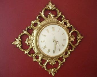 Vintage 1960's Ornate Scroll Gold Tone SYROCO Syrocco Battery Wall Clock Hollywood Regency Made in USA  22""