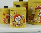 Mushroom decorated canister set / vintage metal canister set / 70s kitchen canister / Ransburg canister set