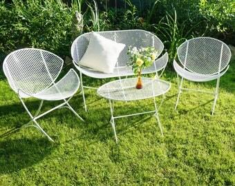 Fantastic Orange Slice Salterini patio set 4 pc / Mid Century metal patio set / Vintage Salterini furniture / Wrought iron porch pation set