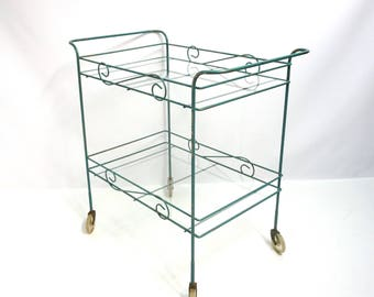 Whimsical Mid Century Vintage Rolling Bar Cart  Mobile Tea Cart 50s Metal Garden Cart