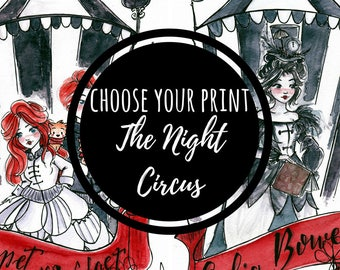 Choose The Night Circus - Book art - Bookish art - Book Fandom -  Watercolor Art - Black Ink Painting -  Gift for Booknerds