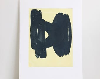 "Art Print . Contemporary Print . Abstract Etching . Minimalist Home . Navy Blue + Yellow : ""Chance"" .  Print 17"" x 23"" . Unframed"