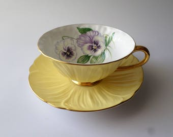 Shelley tea cup and saucer, oleander shape, purple pansy