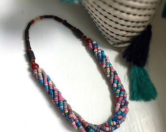 Colorful Tribal Boho Wooden Bead Torsade Twist Necklace
