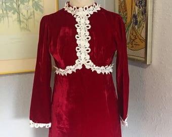 1960's Red Velvet Cake Mini Dress / Vintage Holiday Party Dress / Small