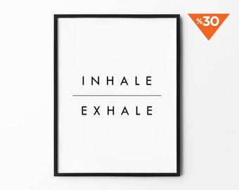 Inhale Exhale Print, Wall Art, Minimalist Decor, Black and White, Typography Art, Modern Art, Typography Print, Scandinavian