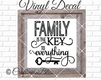 DIY Familiy Is The Key To Everything Vinyl Decal ~ Glass Block ~ Car Decal ~ Mirror ~ Ceramic Tile ~ Computer