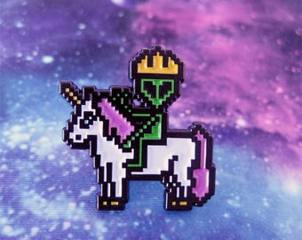 Alien Enamel Pin, Alien on Unicorn Pin, Alien Badge, Alien Riding Unicorn, Hat Pin, Lapel Pin, Alien Pin, Unicorn Pin. 8 bit